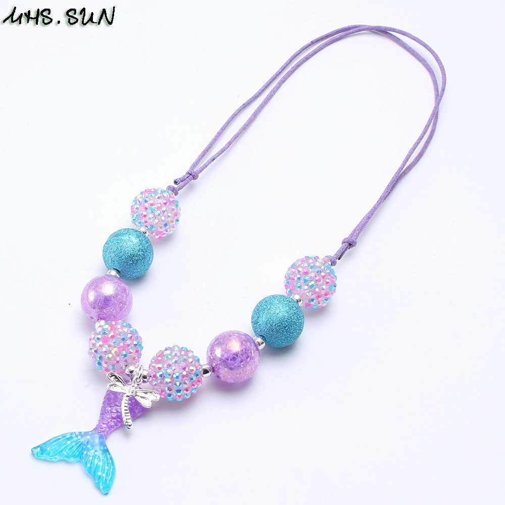 MHS.SUN de cola de sirena colgantes chicas grueso collar de perlas ajustable cuerda niño niños grueso collar color chicle Linda 1 Uds