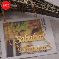 Personalizada s925 plata esterlina doble nombre inglés letra multi-capa colgante Navidad regalo yp3207
