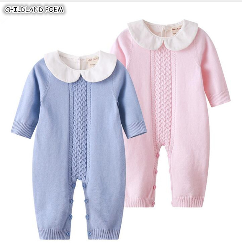 Knitted Baby   Romper   Autumn Newborn Knitting Baby Clothes Woolen Long-sleeve Infant Baby Jumpsuit Overalls Baby Boys Girls   Romper