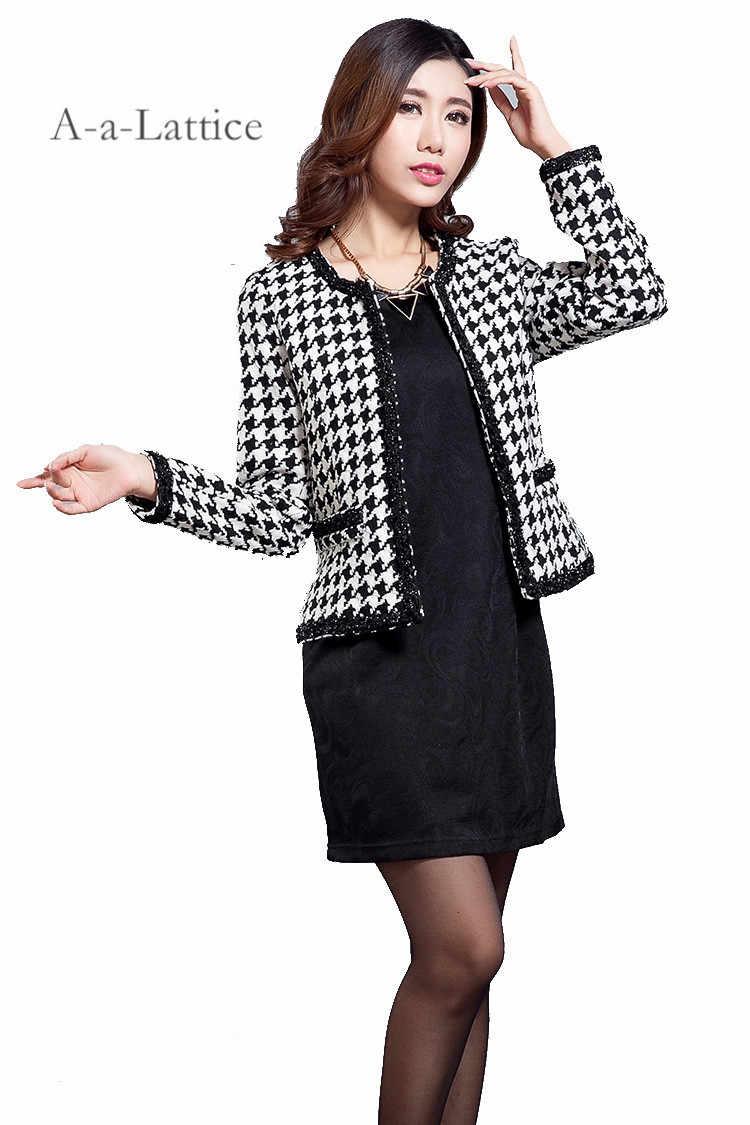 b62c63c306d4 ... Winter Spring Vintage OL jacket Fashion Slim Elegant Tweed Plaid Wool Jacket  Plus Size Oversized Wool ...