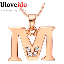 Uloveido Letter A B C D E F G H I J K L M N O P Q I S T U V W X Y Z Crystal Jewelry Pendant Necklace Rose Gold Color Gift N958(China)