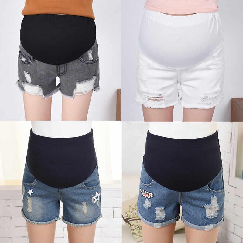 Primavera verão maternidade calças curtas gravidez shorts jeans grávida shorts de maternidade outono barriga denim calças soltas m/l/xl/xxl