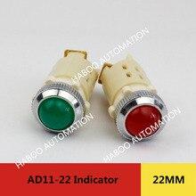 10pcs Lot AD11 22 Electrical Red LED Round Pilot 24V 220V 380V Indicator Light Signal