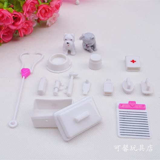 One Set Doll Accessories Doll House Decoration Toy Medical Kit Supplies Doll Pet Toys For Barbie