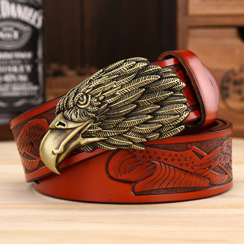 Luxury Punk Mens Belt 2019 Eagle Head Genuine Leather Belt Men Cintura Uomo Black Brown Red Gold Retro Belt Cinto Masculino in Men 39 s Belts from Apparel Accessories
