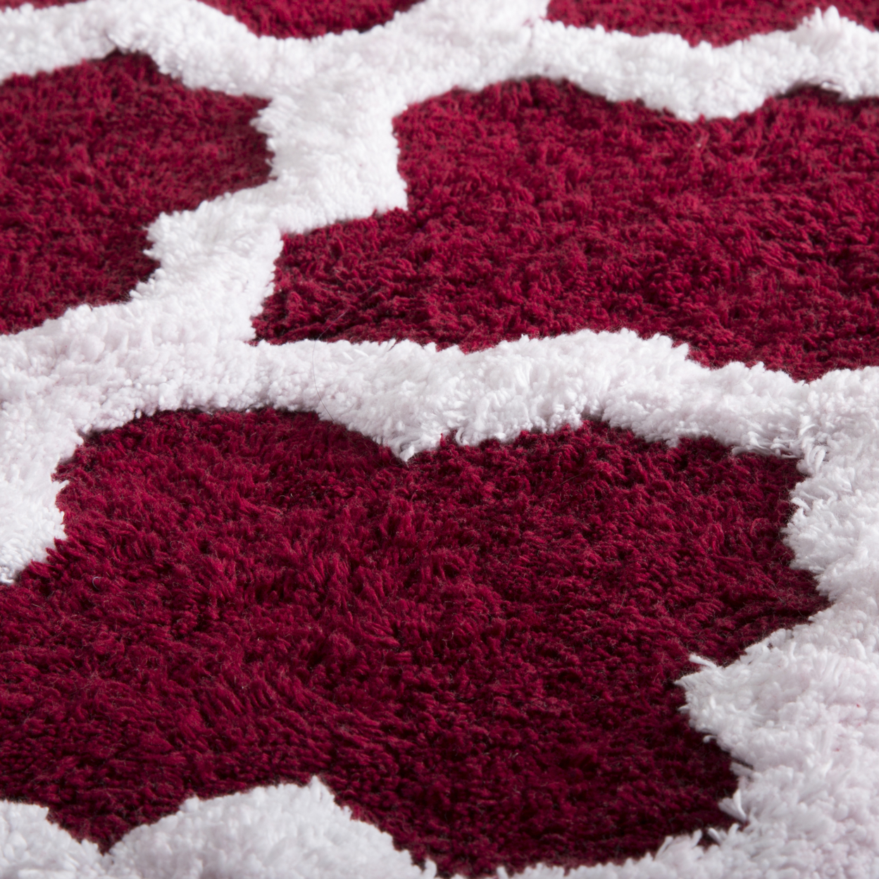 Lavish Home 100% Cotton 2 Piece Trellis Bathroom Mat Set - Burgundy (2)