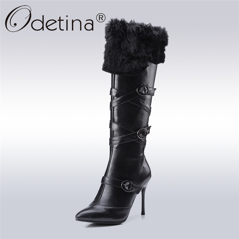 Odetina 2017 Fashion Women High Thin Heel Knee High Boots With Rabbit Fur Pointed Toe Buckle Zipper Up Long Boots Plus Size 43 odetina fashion women pointed toe rivets loafers 2017 spring