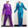 2016 моды для мужчин случайные плюс размер Одежды костюм dj певец одежда неон синий костюм комплект настроить тонкий пиджак производительность