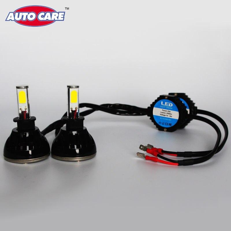 ФОТО H3 Car Headlight 24W 2400LM Cree LED chips COB Waterproof Led Auto White Bulb for Automotive Front Rear Head light Fog lamp Kit