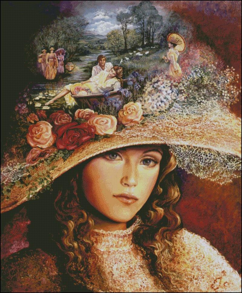 Nouvelle couture, femme élégante avec un chapeau 14CT broderie, bricolage DMC kits de point de croix, Arts personnes motif croix couture décor