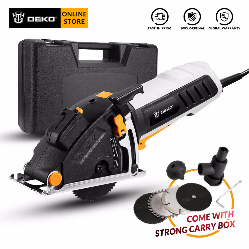 DEKO QD6905 230V Mini Electric Circular Saw Laser Guide Power Tool With Laser, 4 Blades, Dust Passage, Auxiliary Handle, BMC Box