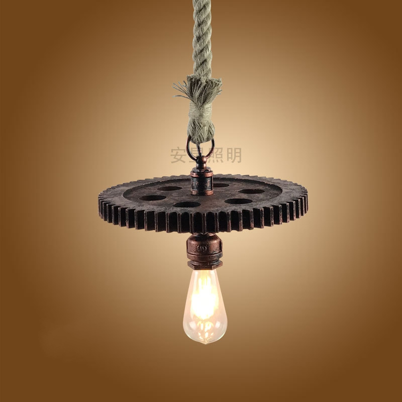 American village rope pendant light creative E27 industrial wind gear pendant lamp for clothing shop restaurant Coffee Bar мягкая игрушка интерактивная woody o time утка