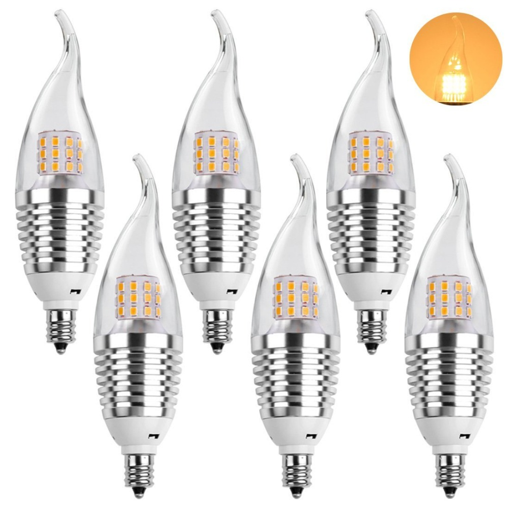 ledmo led candelabra bulb 6 packs warm white led candel light 7w 2800k nondimmable