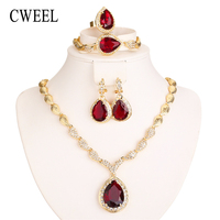 CWEEL Jewelry Sets For African Beads Women Fashion Dubai Gold Color Habesha Jewelry Ethiopian Nigerian Red