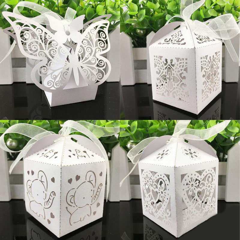 HOMEBEGIN 10Pcs White Candy Boxes Gift Box Chocolate Package For Baby Shower Birthday Wedding Decoration Event Party Supplies