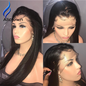 Image 4 - Alicrown Straight Lace Front Human Hair Wigs Free Part Middle Ration Hair Wig 13*4 Pre Plucked Hairline Non  Remy 130Density