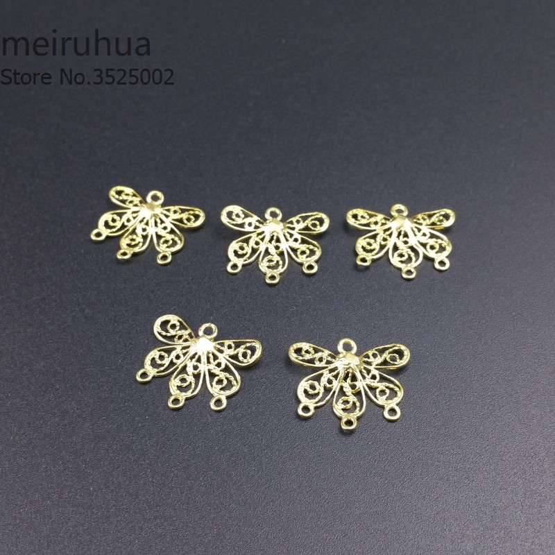 6pcs/lot 20*22mm brass Filigree butterfly Cast copper earring accessories Jewelry DIY Components