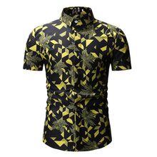 купить Casual Print Plaid Shirt Men Shirt New 2019 Summer Beach Fashion Male Short Sleeve Tops Casual Hawaiian Floral Slim Fit Shirts по цене 567.94 рублей
