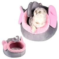Pink Elephant Warm Cat Bed House Bed Kennel Cute Pet Puppy Nest Shell Bed For Winter