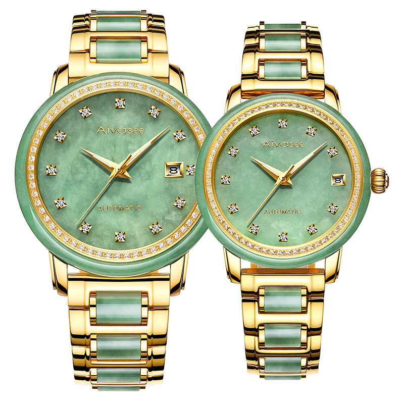 Top Business montre pour hommes Jade couple montre-bracelet 2019 nouvelle mode femme montres Jade Collection classique homme horloge femme montres