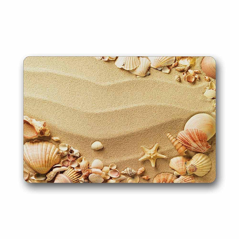 Custom Sea Shell Machine Washable Top Fabric Non-slip Rubber Indoor Outdoor Home Office Bathroom Doormat Size 23.6x15.7