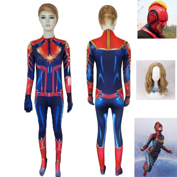 New 3D Women Girls Movie Version Captain Marvel Carol Danvers Cosplay Costume Zentai Superhero Bodysuit  Jumpsuits wigs mask
