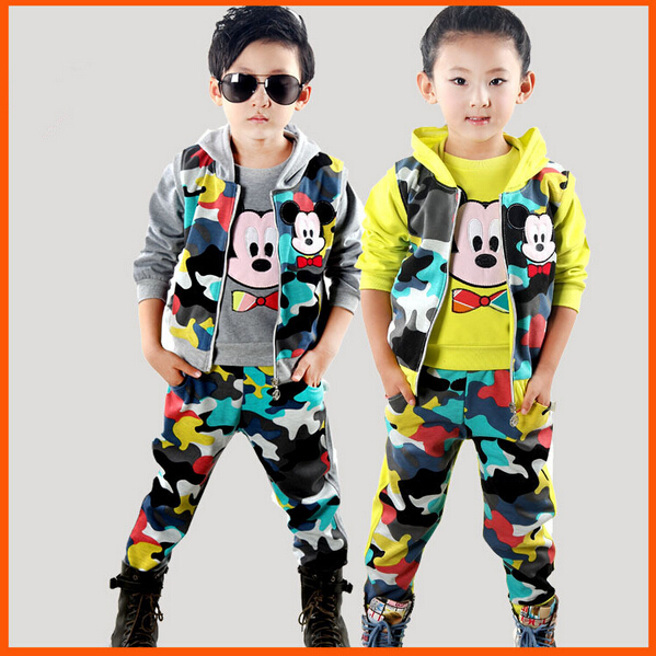 Free Shipping Mickey Autumn Boy Girls Fashion Camouflage Sport Suit Children Clothing Set Vest+T-Shirt+Pants Kids Clothes Sets