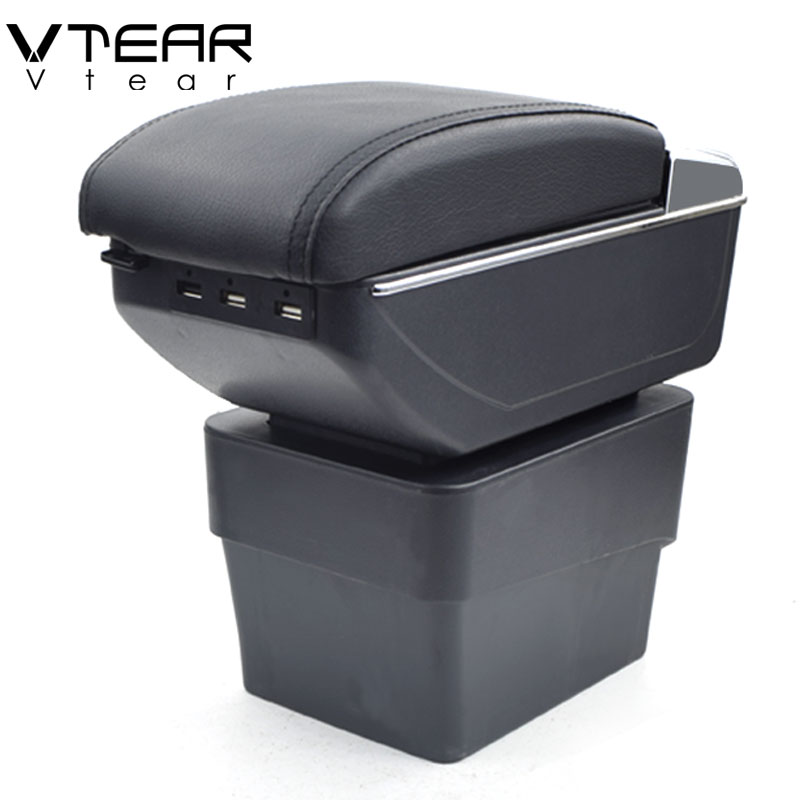 Vtear For Skoda A7 armrest box USB Charging heighten Double layer central Store content cup holder