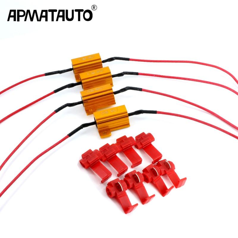 4pc 25W LED Bulb Turn Signal Light DRL Load Resistor Fix Error Fast Flash 1156 P21W PY21W BAU15S 1157 7440 7443 T20 3156 3157