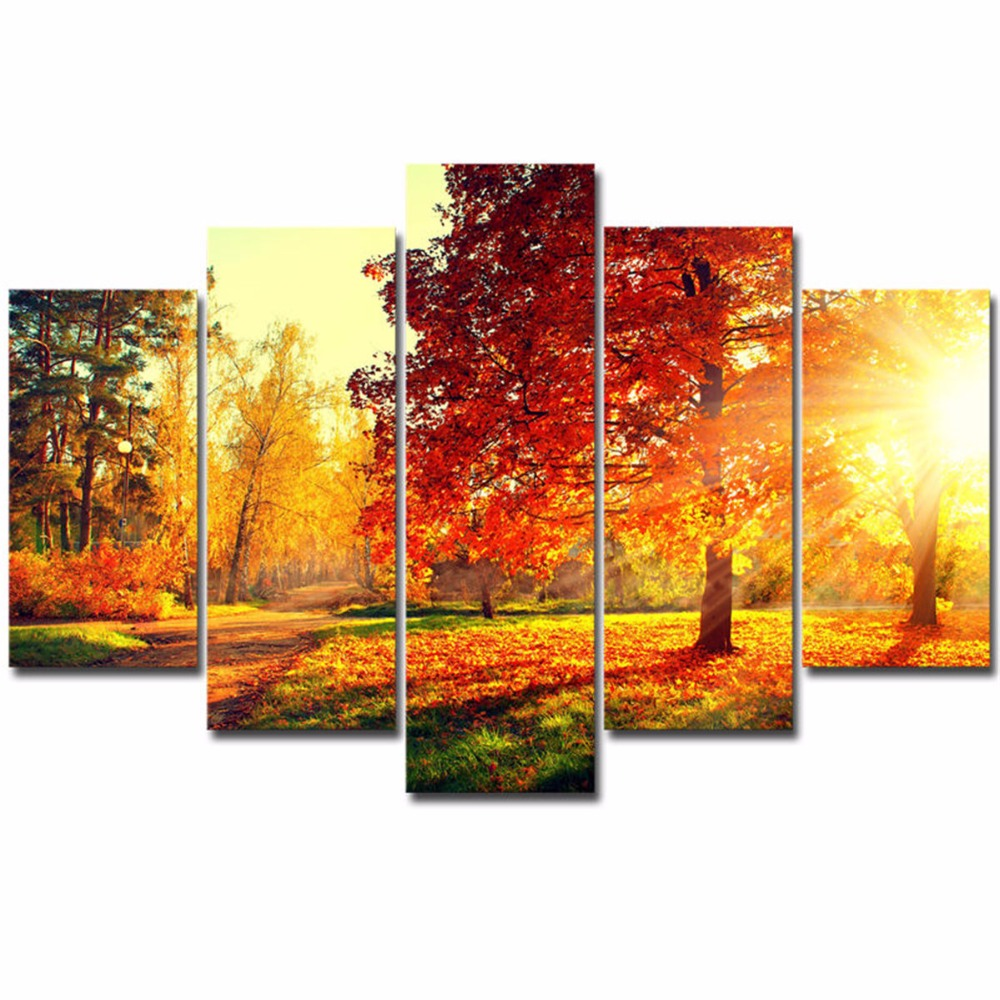 Canvas Painting Modern 5 Pieces/Pcs Sunset Landscape Art Autumn Scenery Live Wall HD Decoration Modular Forest Picture Poster canvas painting picture posterssunset landscaping - AliExpress