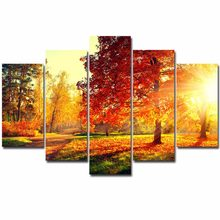 Canvas Schilderij Moderne 5 Pieces/Pcs Zonsondergang Landschap Art Herfst Landschap Live Muur HD Decoratie Modulaire Forest Foto Poster(China)