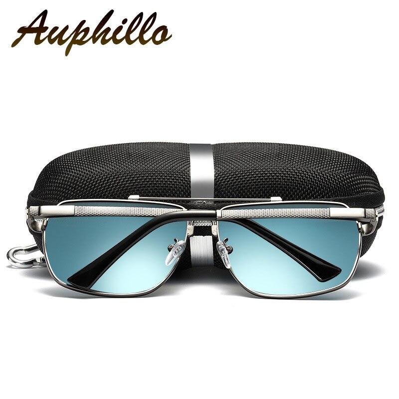 AUPHILLO New Sunglasses Men Polarized Driving Mirror Memory Metal Square Sunglasses Men Spring Legs Inner Plating Blue Film 118 in Men 39 s Sunglasses from Apparel Accessories