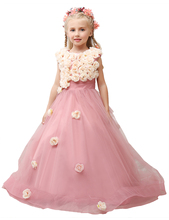 2016 Pink Blush Flower Girl Dress Cute Flowers Junior Bridesmaid Ball Gown Kid Birthday Prom Party Pageant Dress WF3328