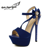 Sexy Nightclub 14cm High Heel Sandals Flower Rhinestone Suede Women Shoes Open Toe Pumps Ankle Straps