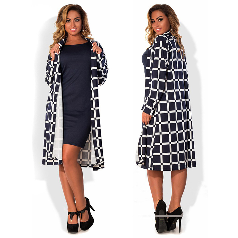Big size 6XL woman trench 2019 New Autumn winter fat MM long sleeve plaid printing Open Stitch coat plus size women clothing 6XL