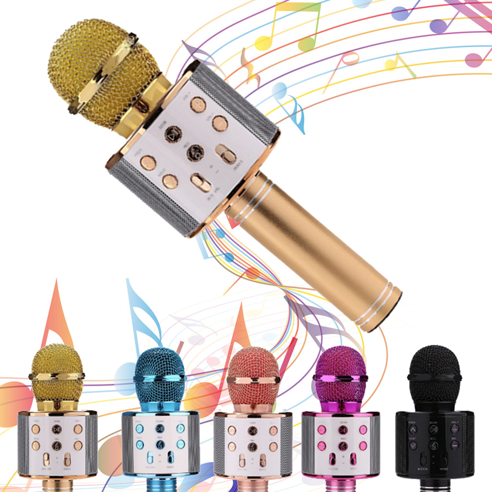 Microphone Professional Bluetooth Wireless Speaker Handheld Karaoke Mic Singing KTV Recorder with Covers for Phone PC Tablet TV