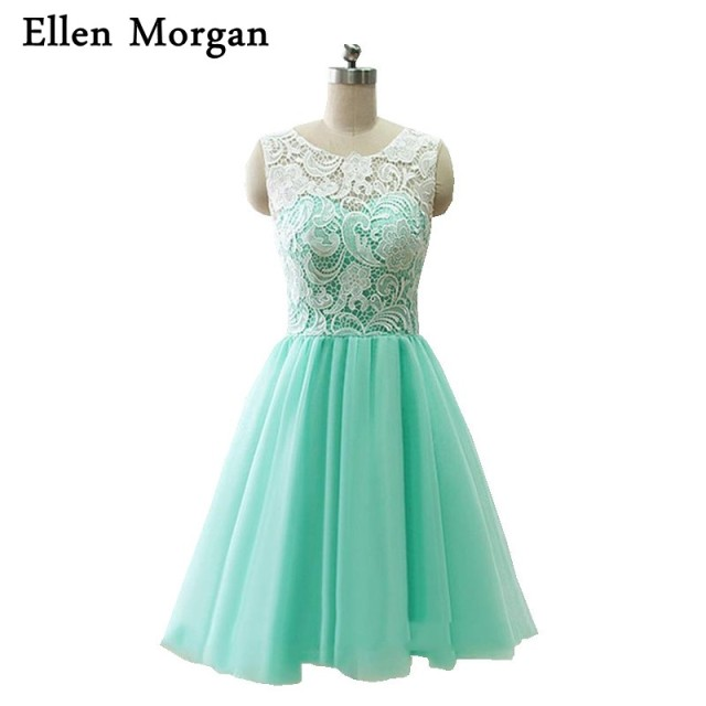 fe6ab02049 Short Mint Green Homecoming Dresses 2017 Real Pictures Knee Length Back to  School Black Girls Cute 8th Grade Graduation Party
