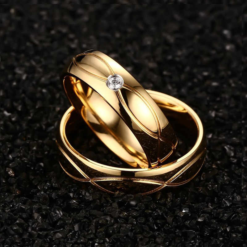 Vnox Лидер продаж 2016 года Обручальные кольца Кольца для Для женщин Для мужчин золото-Цвет Нержавеющая сталь Обручение кольцо
