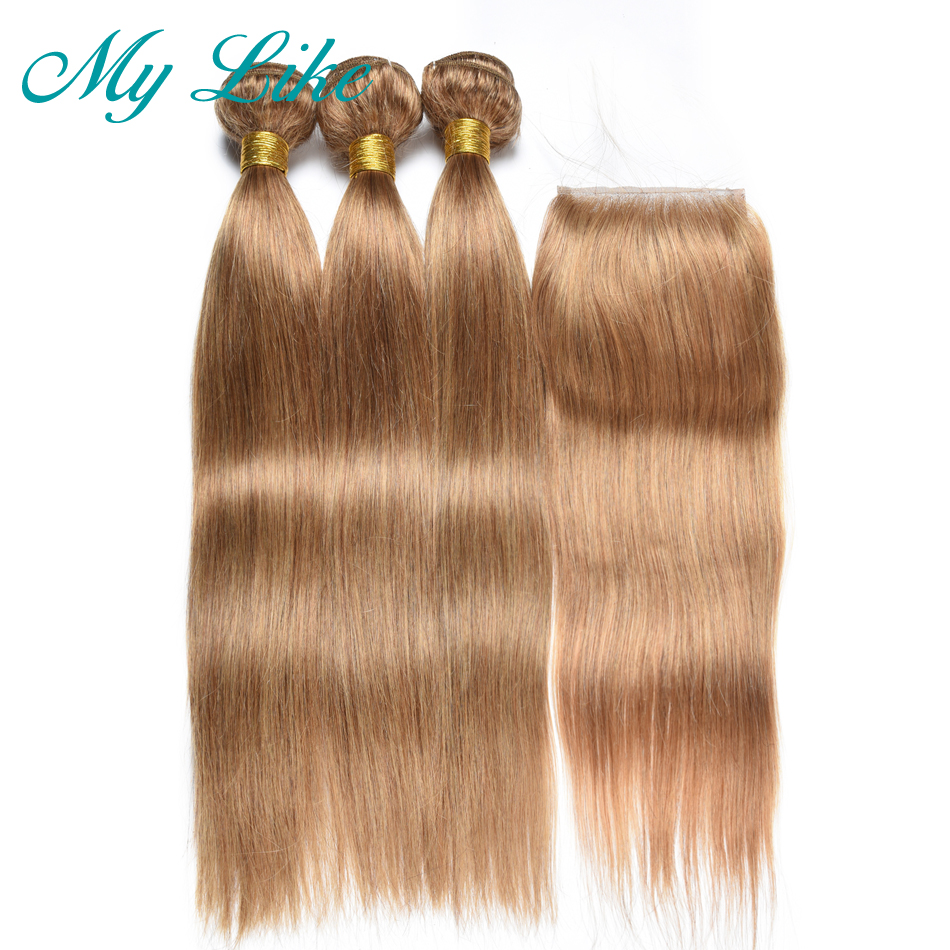 Wome #27 Peruvian Straight Hair With Closure Honey Blonde Color Human Hair Weave 3 Bundles With 4x4 Lace Closure Non Remy Hair 3/4 Bundles With Closure