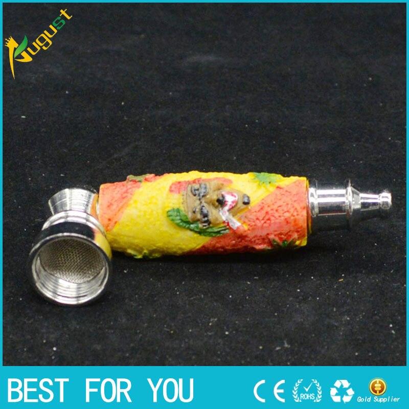 10pcs/lot rasta reggae resin pipe metal smoking pipe shisha <font><b>r</b></font> <font><b>hookah</b></font> mini metal resin tobacco pipe