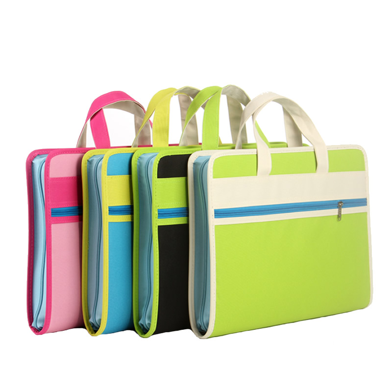 Creative organ bag multi-layer folder Oxford cloth a4 portable zipper information briefcase paper bag