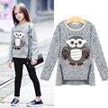 2016 otoño nueva moda niñas suéteres niños fleece forrado con cremallera suéteres de dibujos animados lindo búho suéter de algodón de las muchachas ocasionales