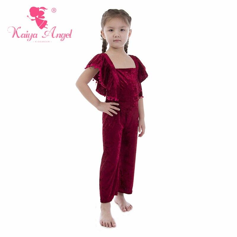 00bf20326fde3 Kaiya Angel Baby Girl Burgundy velvet Overalls Summer Children Clothing  Toddler Kids Summer Clothes Factory Wholesale-in Overalls from Mother    Kids on ...