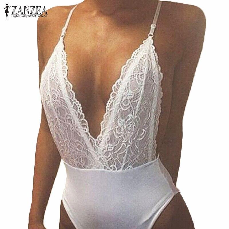 ZANZEA 2019 Nyári divat szexi romperek Női Jumpsuit Mély V-nyakú - Női ruházat - Fénykép 2