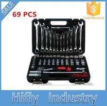 Car Repair Tools 69pcs in 1 Car Chrome Vanadium Steel Socket Tool Auto Repair Tools Wrench Set Combination Tool Kit