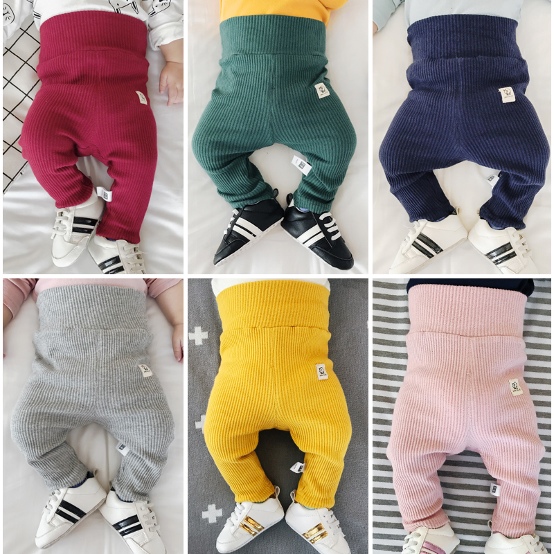 Baby Dispear Pants Girls High Waist Warm Pencil Pants Full Length 1st Fall Winter Boys Knitted Leggings Filles Kids Skinny Pants