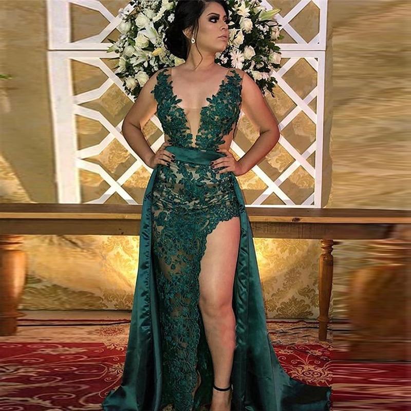Dark Green V Neck Mermaid Prom Dresses Side Split Party Gowns Overskirt Sleeveless Mother Of The Bride Dresses