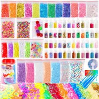 82 Pack Making Kit Supplies for Slime Including Foam Balls, Fishbowl Beads, Glitter Jars, Pearls, Fruit Slices, Sugar Paper, Can