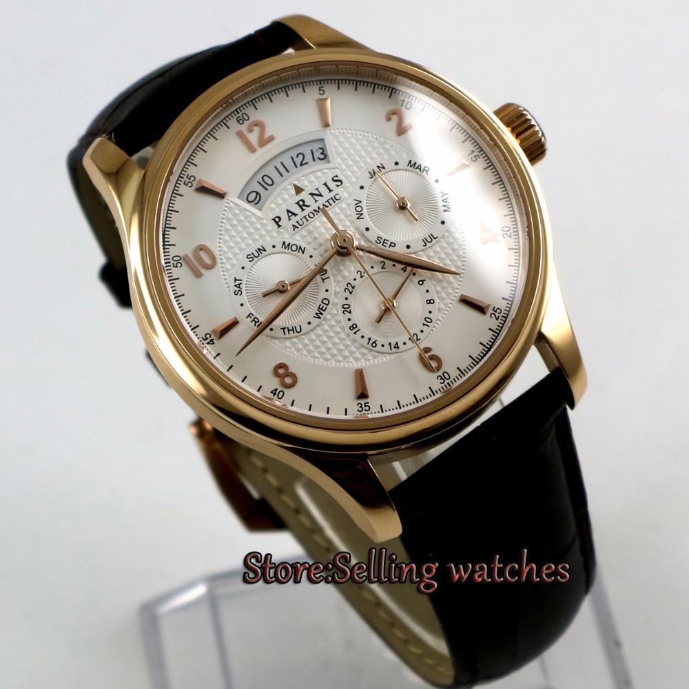 42 MM PARNIS 26 klejnotów japoński 9120 automatyczne Self wiatr mechaniczne złota róża case biała tarcza szafirowe zegarek męski w Zegarki mechaniczne od Zegarki na  Grupa 1