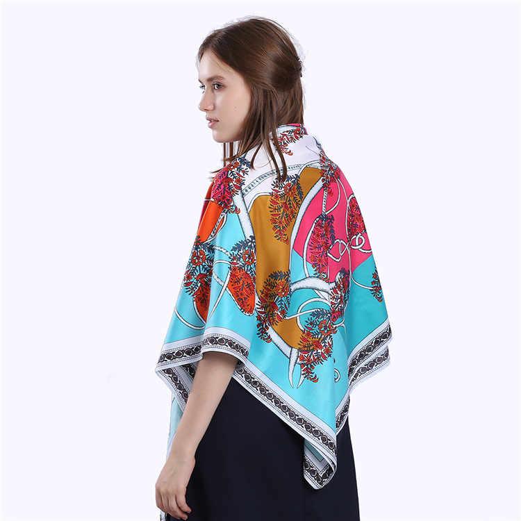 POBING роскошный бренд 100% саржевый шелковый шарф женский двойной конский платок шейный шарф лесной принт бандана квадратные шарфы хиджабы 130 см